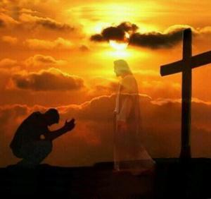 Hombre postrado ante Jesús