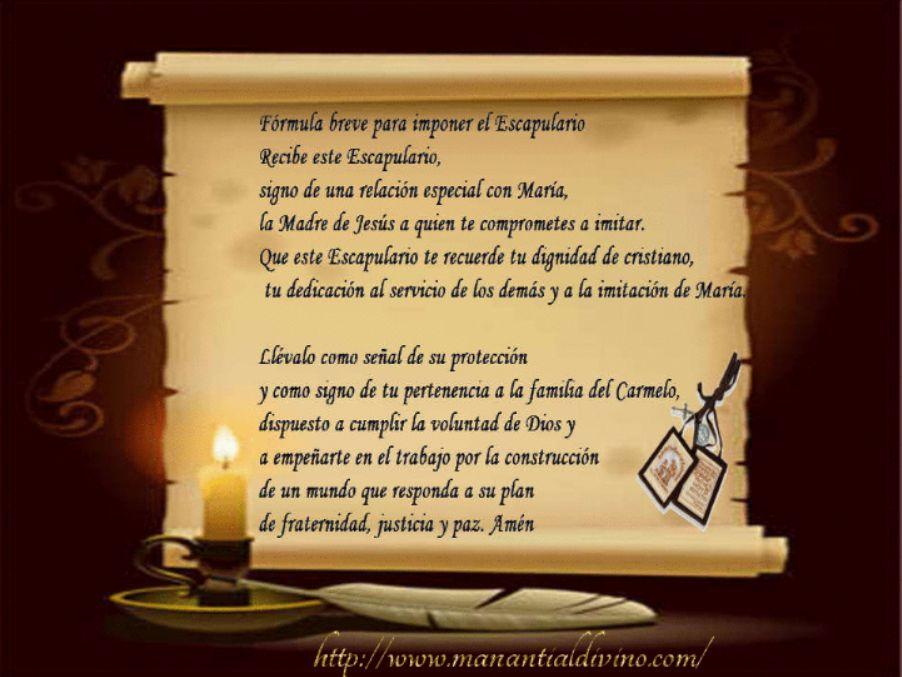 Oración de imposición del Escapulario