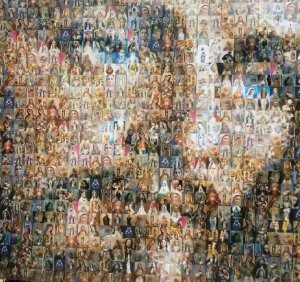 Rostro de Jesús con imagenes de la Virgen (ft img)